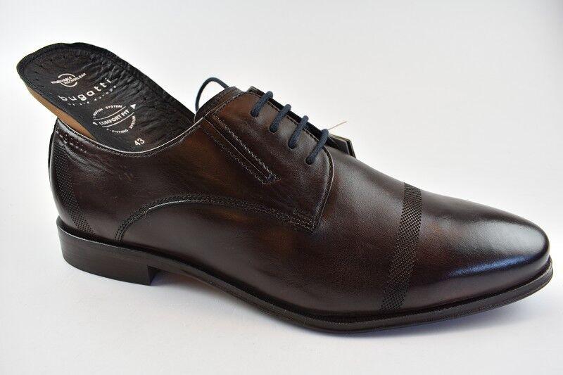 Bugatti Herren Business Nimo Exko Dunkelbraun Leder Wechselbare Einlege in Gr.43