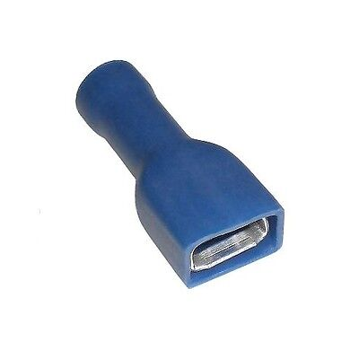 100 Kabelschuhe blau 6,3x0,8mm Flachsteckhülsen vollisoliert f. Kabel 1,5-2,5mm²