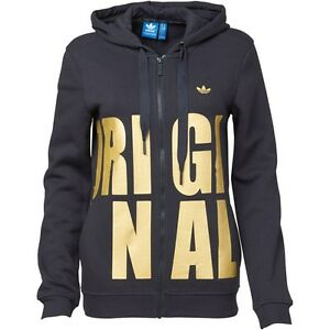 21a6aabee0a3 Image is loading Adidas-Originals-Womens-Hooded-Track-Top-Black-Metallic-