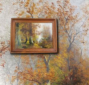 Impressionista-vecchio-Dipinti-a-olio-Autunnale-Wald-con-Scenario-di-persona