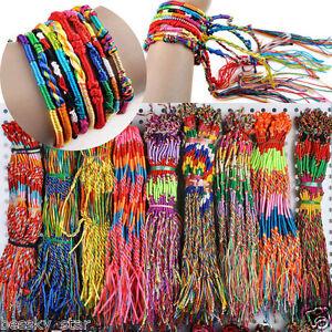 50Pcs-Jewelry-Lot-Handmade-Braid-Strands-Friendship-Cords-Bracelets-Wholesale