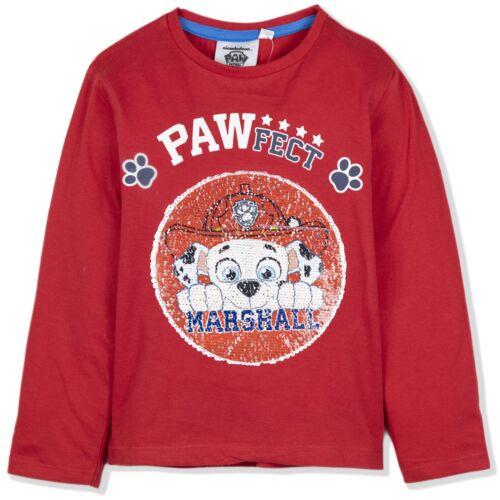 Paw Patrol caractères Garçons Haut à manches longues T-shirt réversible paillettes 2-6 ans