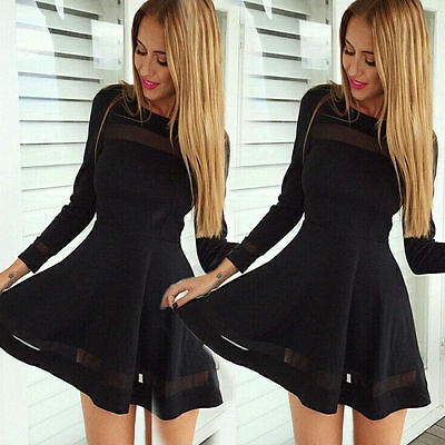 Neu Damen Sexy Langarm Kleider Cocktail Minikleid Abendkleid Schwarz Partykleid