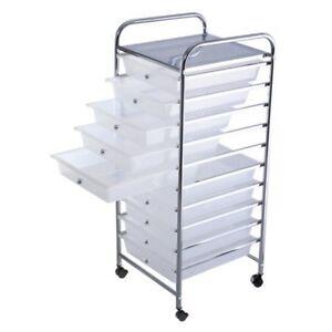 10 drawer rolling storage cart scrapbook paper office school organizer drawers ebay. Black Bedroom Furniture Sets. Home Design Ideas