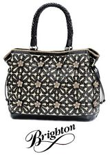 """Brighton """"Gloria"""" Black Leather Handbag Tote with Cut-out Flowers - NWT - $520"""