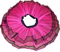 Neon UV Hot Pink Black 4 lay tone tutu skirt Adult Dance Party Costume Halloween