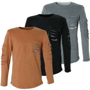 DH-Herren-Supersoft-Designer-Slim-Fit-Pullover-Ripped-Style-ZT043