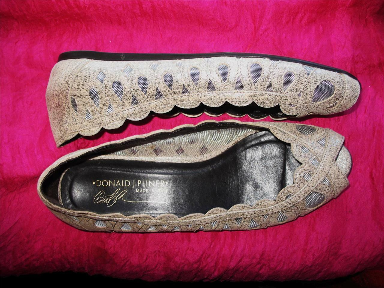 DONALD J PLINER Schuhe ELAMA SILVER  BALLET FLAT  SIZE 6,5 M/37  MADE IN ITALY