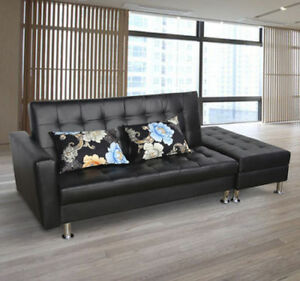 Details about Modern Storage Sofa Bed Couch Lounge Chair Mattress Pillows  PU Furniture Black