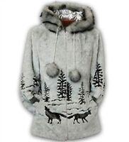 Black Mountain Gray Wolf Faux Fur Hooded Coat Satin Lining Fleece Jacket Sm - 3x