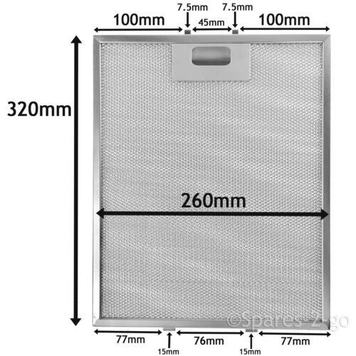 3 x universel hotte filtre à treillis vent Filtres 320 X 260 mm