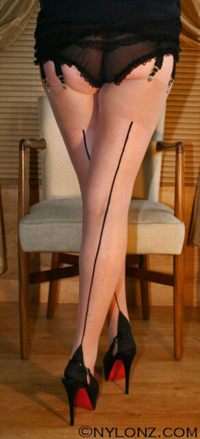 3 pairs TAN BLACK Seam Luxury Contrast Seamed Stockings S,M,L,XL