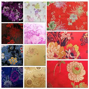 Faux Silk Brocade (Flora Pattern) Jacquard Damask Kimono Fabric Material BL12