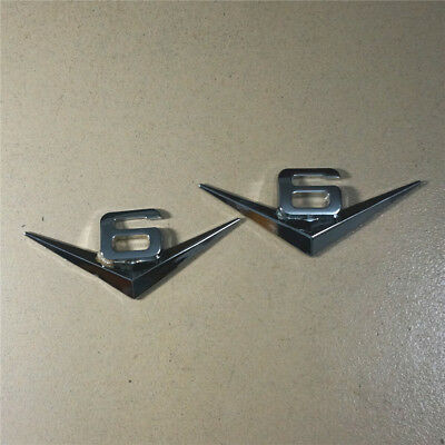 Pair New Silver Badge 3D Racing #6 2PCS Sivler VIP MOTORS Metal Emblem Sticker