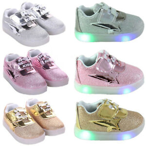 LED Light Up Sports Shoes Luminous Designer Trainers Toddler//Kids