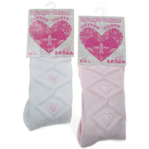 Baby Girl White//Pink tights by Soft touch with raised heart pattern 75/% Cotton