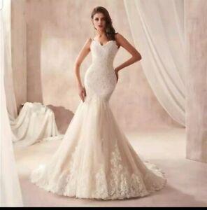 Details About Uk White Ivory Champagne Open Back Spaghetti Mermaid Wedding Dresses Size 6 16