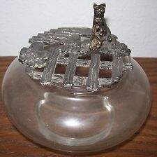 "Vintage/Old CAT GLASS POTPOURRI JAR 5"" ACROSS"