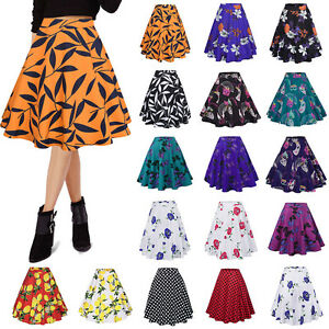 8332cf41e27 Image is loading Women-Floral-High-Waisted-Skater-Full-Circle-Pleated-