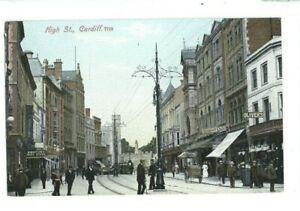 Postcard-Cardiff-High-Street-Tram-Lines-MJR-series-Glamorgan