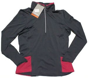 NWT-SUNICE-ESLIE-Charcoal-Bright-Rose-LIGHTWEIGHT-STRETCH-1-2-ZIP-PULLOVER-M