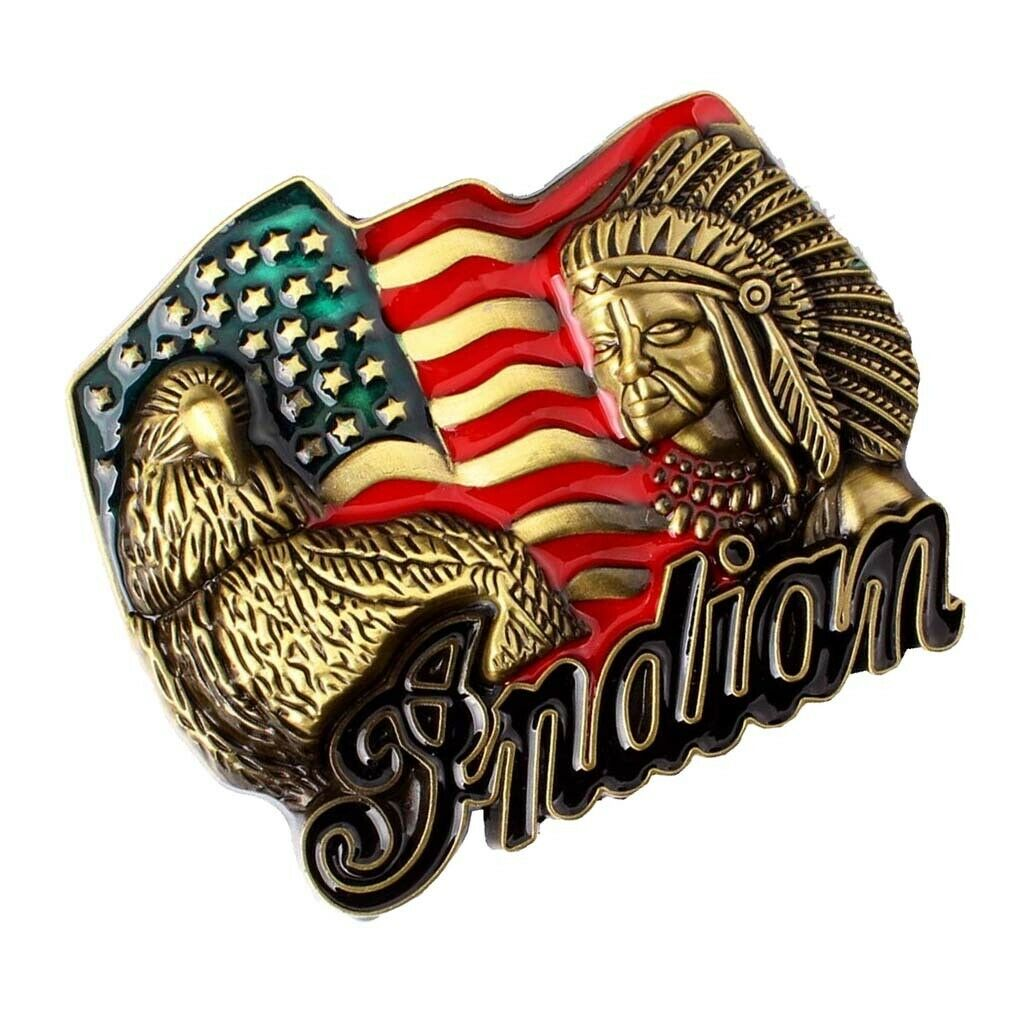 Man Good Quality Western Cowboy Belt Buckles (Indian Chief And Eagle)