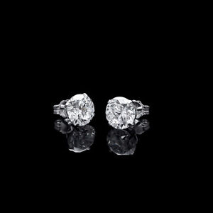 Real-14k-Brilliant-6mm-Round-CZ-Earrings-White-Gold-Solitaire-Basket-Studs-SALE