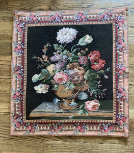 Tapestry-Wall-Hanging-Flowers-In-Urn-Vase-Floral-Decor