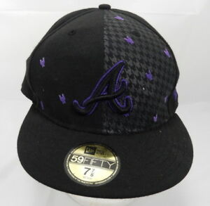 NEW ERA 59Fifty Baseball Hat Atlanta Braves Black Purple Fitted Cap Cooperstown