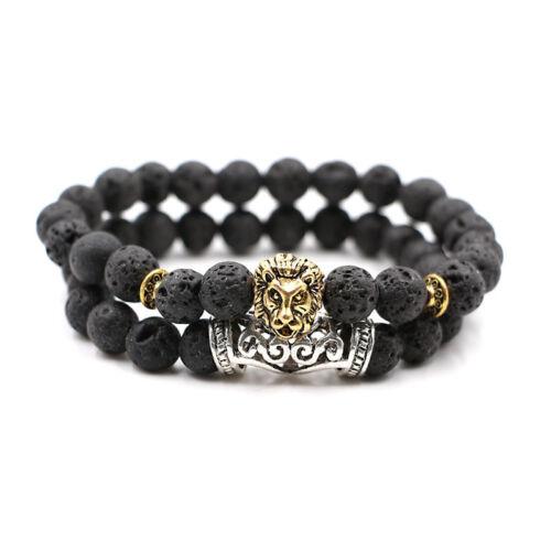 2 Pcs Natural Lava Stone Lion/'s Beads Energy Yoga Reiki Charm Men/'s Bracelets