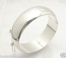 All Shiny Domed Hinged Bangle Bracelet Safety Chain  Real 925 Sterling Silver