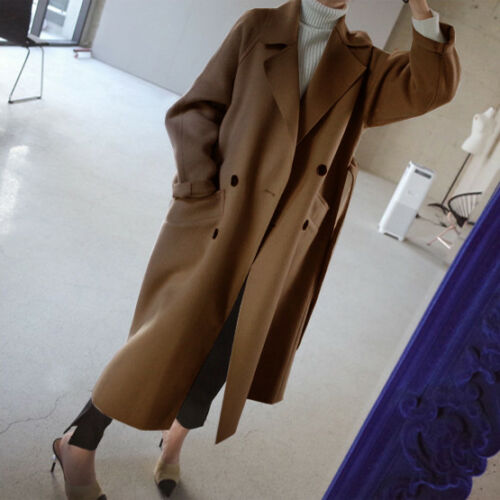 Womens Winter Wool Blend Lapel Collar Trench Coat Belted Oversize Jacket Outwear