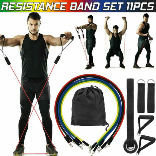 Resistance Band Set Bands Yoga Pilates Abs Exercise Fitness Tube Workout 11PCS
