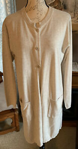 J-Jill-Wool-Blend-Creamy-Beige-Button-Duster-Cardigan-Sweater-Size-Medium
