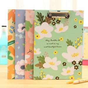A4-Flowers-Document-File-Clipboard-Metal-Clip-Paper-Writing-Hard-Pad-Board-Tool