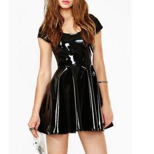 black latex rubber dress back zipper short sleeve low neck