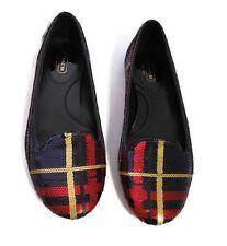 Coach Debrorah Sequin Ballet Smoking Flats Black Red Tartan Plaid Shoes Sz 7.5B