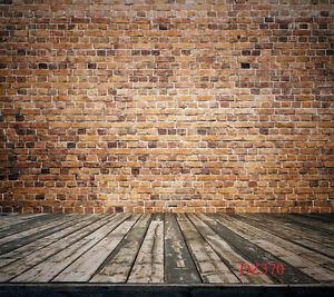 10X10FT Wall Photo Bricks Floor Wooden Props Studio Background Backdrop DZ370
