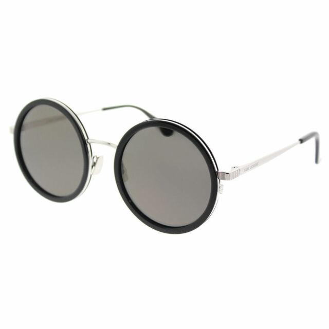 76028d27250 Saint Laurent SL 136 Combi 001 Black Plastic Round Sunglasses Grey Lens