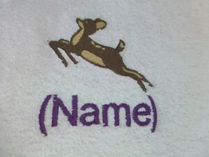 Bath Robes with Personalised name DEER design Embroidered onto Towels Hooded
