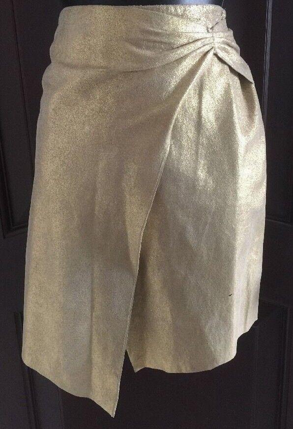 EUC BEBE Gold 100% Real Soft Leather Asymmetrical Knee Length SEXY Skirt Sz4