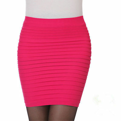 Sexy Women Mini Skirt Pleated Seamless Stretch Tight Business Pencil Dress New