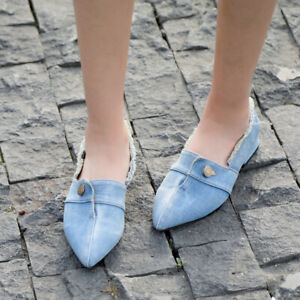 Denim-Loafers-Women-039-s-Pointed-Toe-Shoes-Retro-New-2019-Low-Heels-Summer