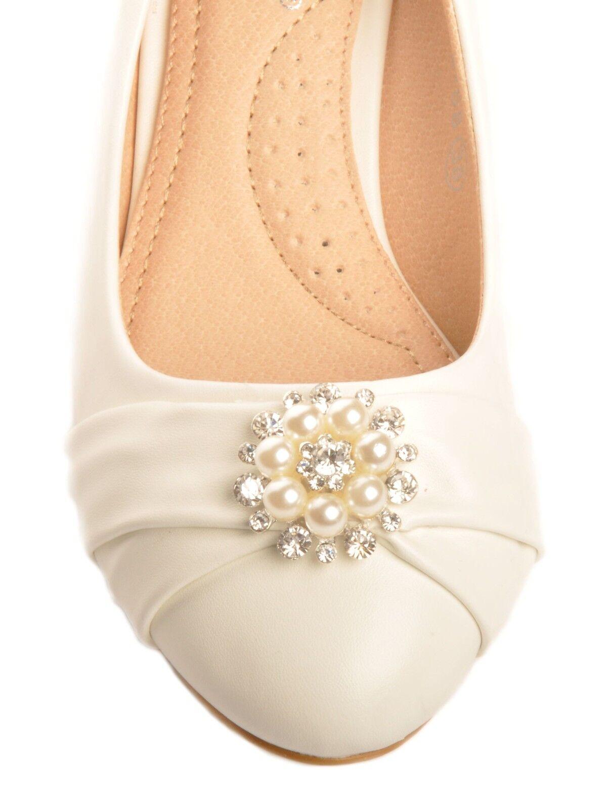 Off White Pearl Diamante Brooch Low Wedge Bridal Wedding Heels