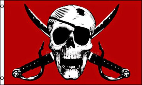 Crimson Pirate Red Cross Swords Skull Eye Patch Drapeau 3x5 Polyester