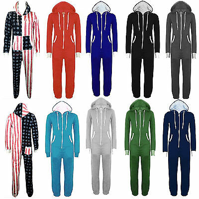 Ladies Mens All In One Piece Hoody Womens Onesie Hooded Jumpsuit Size S M L XL