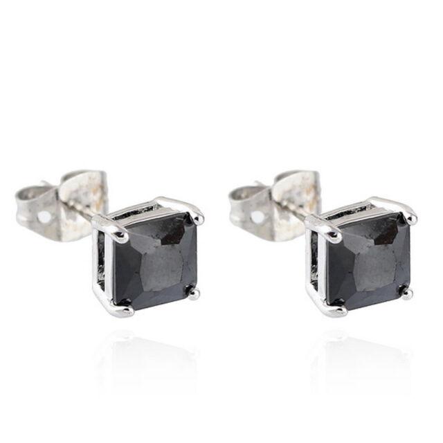 Fashion 18k White Gold Plated Stud Earrings Black Zircon CZ Crystal