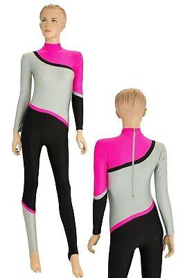 Damen Ganzanzug Rück+Schrittreißverschluss Gymnastikanzug stretch shiny S XXL