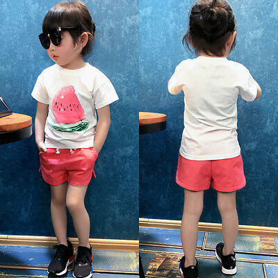 2PCS Toddler Kids Baby Girls Watermelon T-shirt Tops+Shorts Clothes Outfits Set