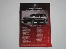 2006 PONTIAC MONTANA SV6 GET TO KNOW YOUR PONTIAC BOOKLET